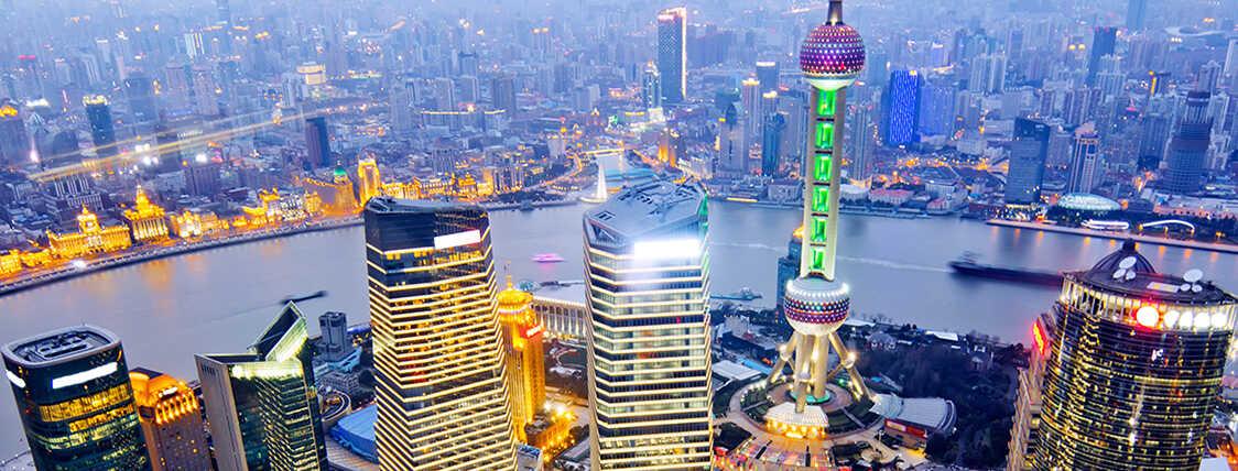 Skyline view of Shanghai at dusk