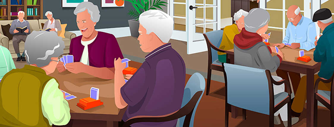 Elderly people who need long term care insurance playing cards at a senior center