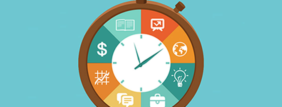 Clock outlined by images representing tasks and solid time management principles.