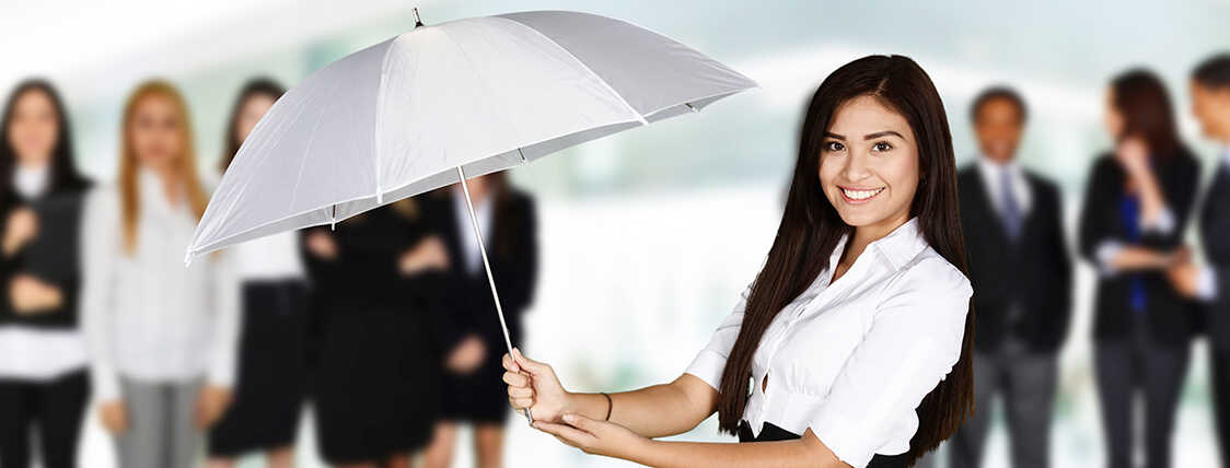 woman holding an umbrella representing insurance