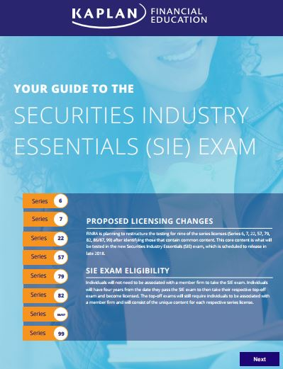 Kaplan's SIE exam guide Cover