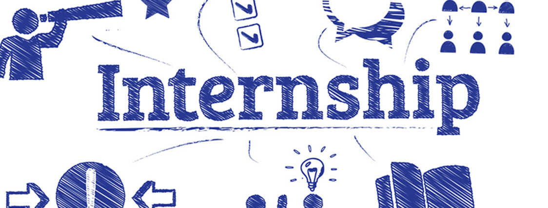 Internship spelled out in blue