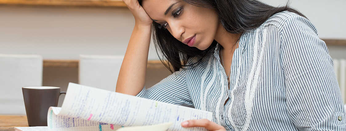 Woman preparing for the life and health insurance exam