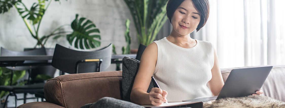 Woman preparing for the life insurance exam
