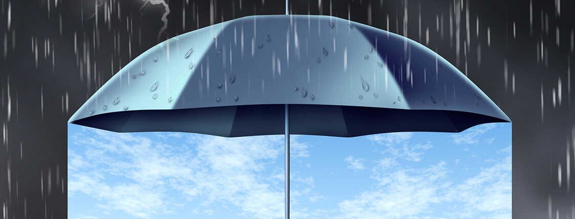 umbrella representing insurance protecting an area from rain