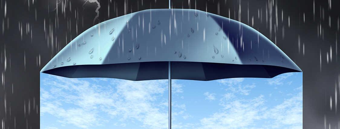 umbrella representing insurance protecting an area from rain