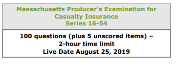 Massachusetts Producers Exam for Casualty Insurance Listing