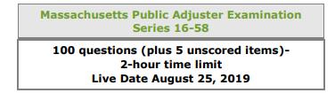 Massachusetts Public Adjuster Examination Listing