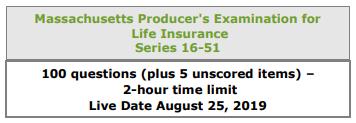Massachusetts Producers Exam listing