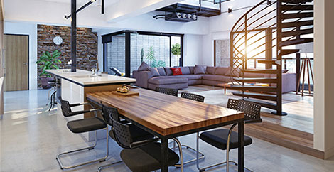 Home interior with table, kitchen island, sectional sofa, and spiral staircase image