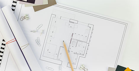 Architectural plans with pencil image