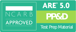 NCARB Approved ARE Project Planning & Design Exam Test Prep Study Materials Badge