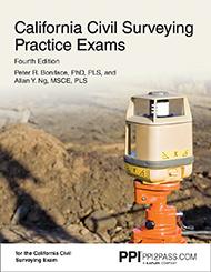PE Civil California Surveying Practice Exams Book Cover