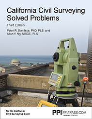 PE Civil California Surveying Solved Problems Book Cover