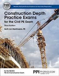 PE Civil Construction Depth Practice Exams Book Cover