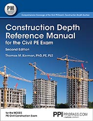 PE Civil Construction Depth Reference Manual Book Cover