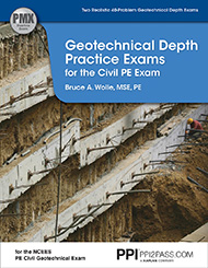 PE Civil Geotechnical Depth Practice Exams Book Cover