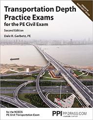 PE Civil Transportation Depth Practice Exams Book Cover