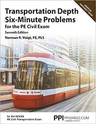 PE Civil Transportation Depth Six Minute Problems Book Cover