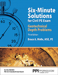Six-Minute Solutions for Civil PE Exam Geotechnical Depth Problems Third Edition Book Cover