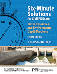 Six-Minute Solutions for Civil PE Exam Water Resources and Environmental Depth Problems Second Edition Book Cover