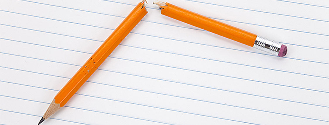 A broken pencil represents the 9 Reasons People Fail the CFA Exam