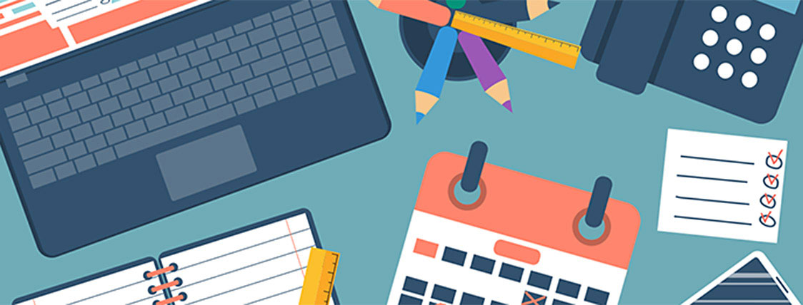 Tools for FRM exam time management including a calendar, cell phone, notebook, and laptop