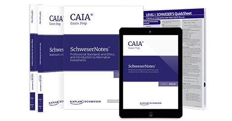 Kaplan Schweser's SchweserNotes & Quicksheet for Level 1 of the CAIA exam