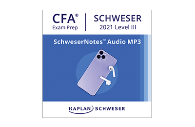 Smartphone playing SchweserNotes™ Audio on wireless headphones.